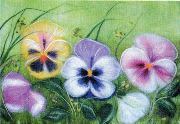 Картины из шерсти фото цветы