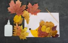 Аппликация из осенних листьев - приглашение на мастер-клас